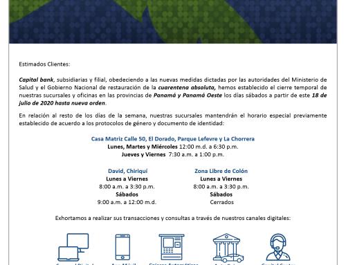 Comunicado – Nuevo Horario de Atención a partir del 18 de Julio de 2020.